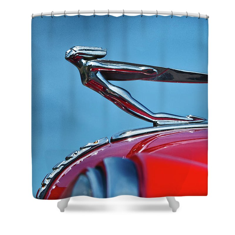 1935 Auburn Boattail Speedster Shower Curtain featuring the photograph Auburn 6889 by Guy Whiteley