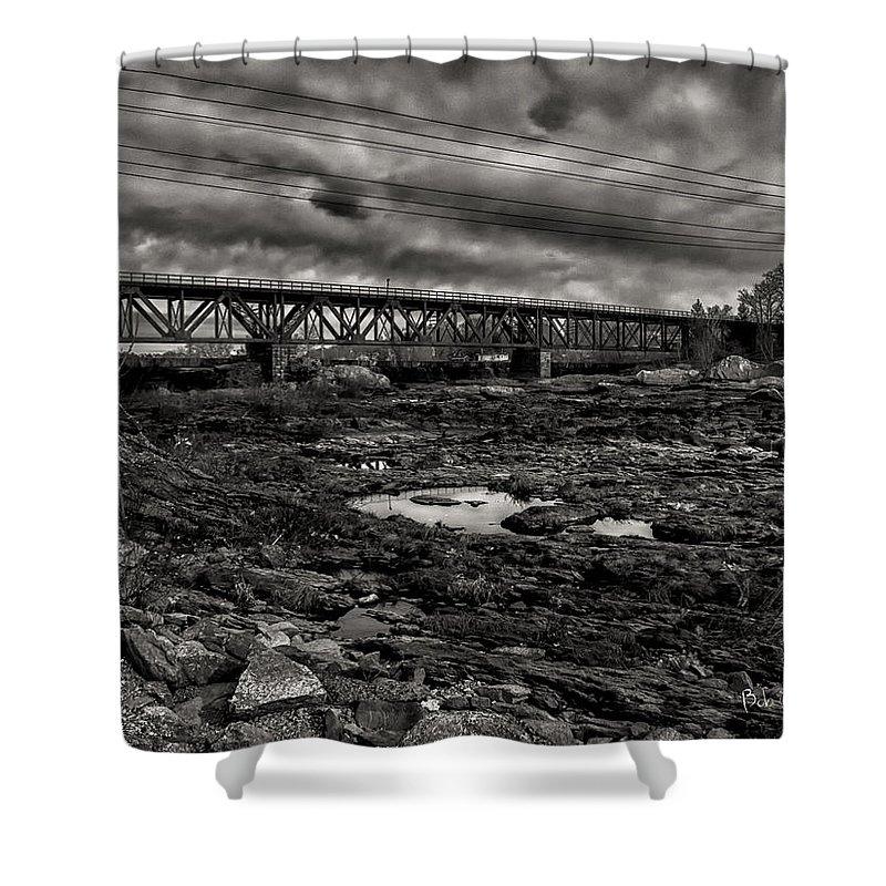 Train Shower Curtain featuring the photograph Auburn Lewiston Railway Bridge by Bob Orsillo
