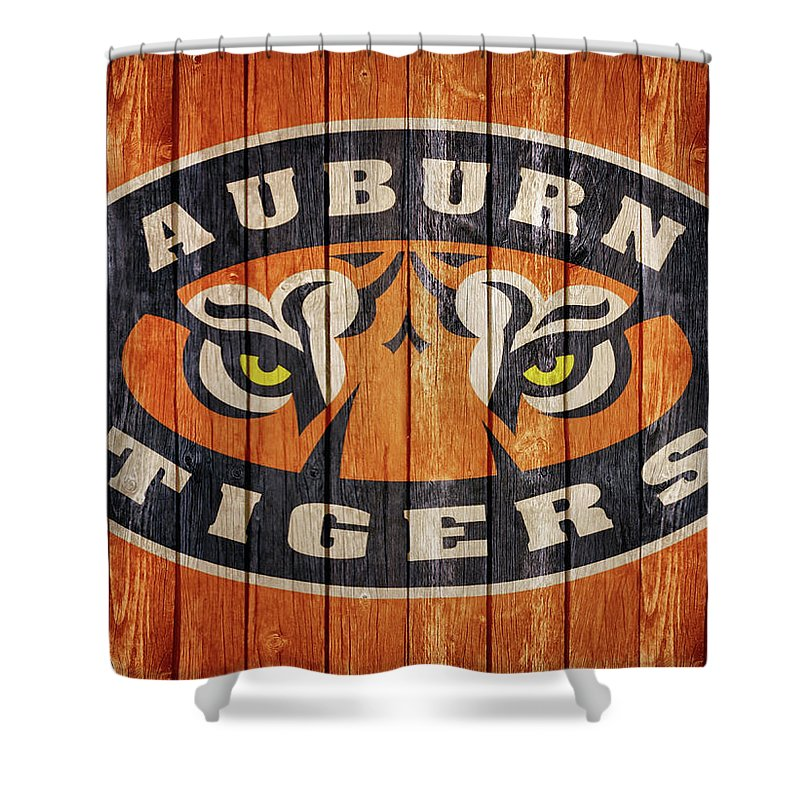 Auburn Tigers Barn Door Shower Curtain Featuring The Mixed Media By Dan
