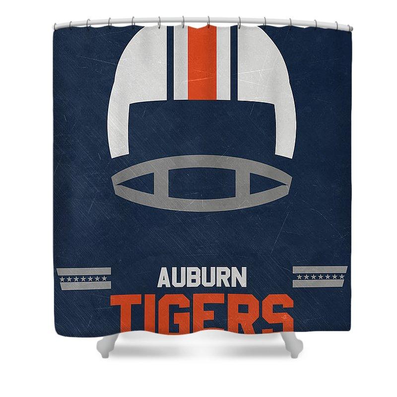 Tigers Shower Curtain featuring the mixed media Auburn Tigers Vintage Football Art by Joe Hamilton