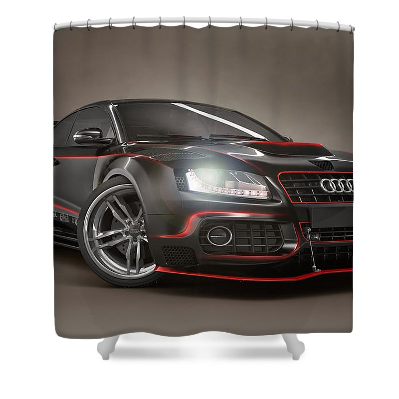 Audi Shower Curtain featuring the digital art Audi by Zia Low