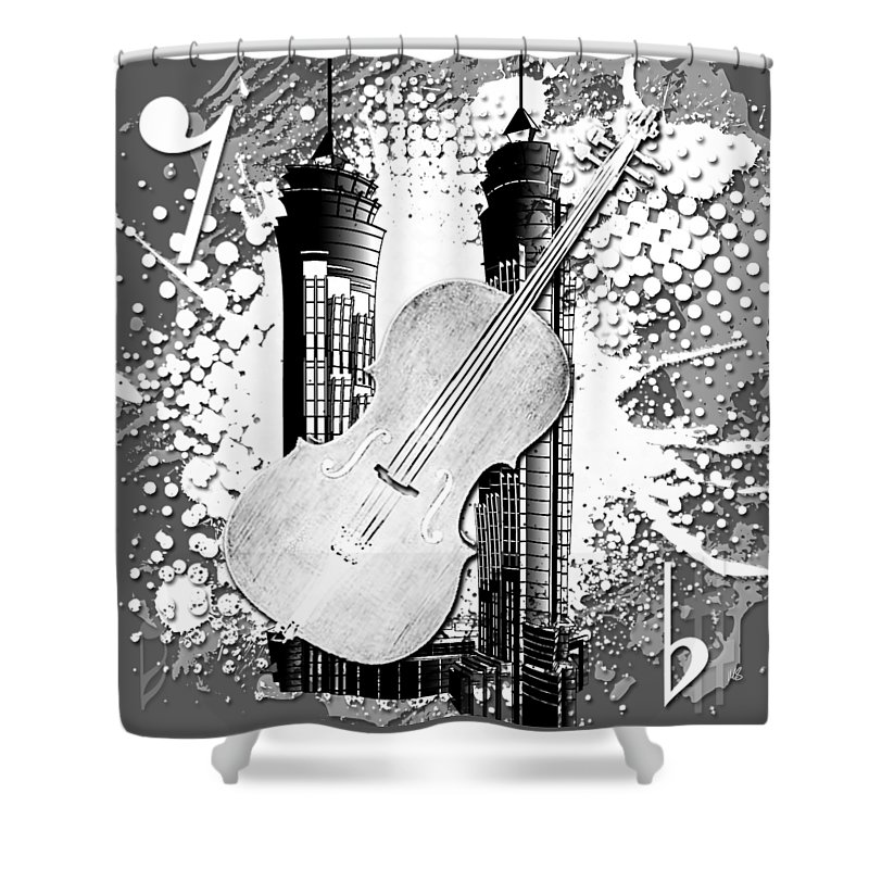 Abstract Shower Curtain featuring the digital art Audio Graphics 1 by Melissa Smith