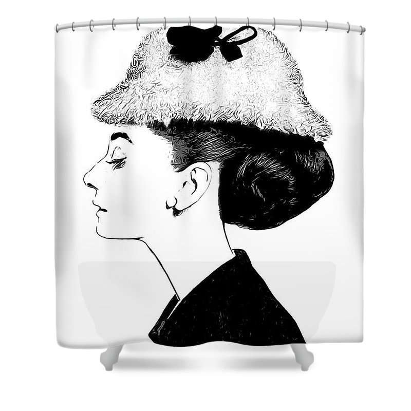 Audrey Hepburn Shower Curtain featuring the digital art Audrey by Greg Joens