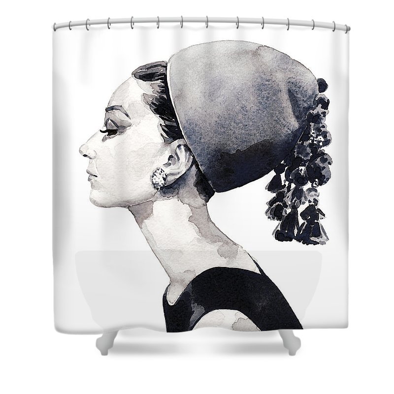 Audrey Shower Curtain featuring the painting Audrey Hepburn For Vogue 1964 Couture by Laura Row