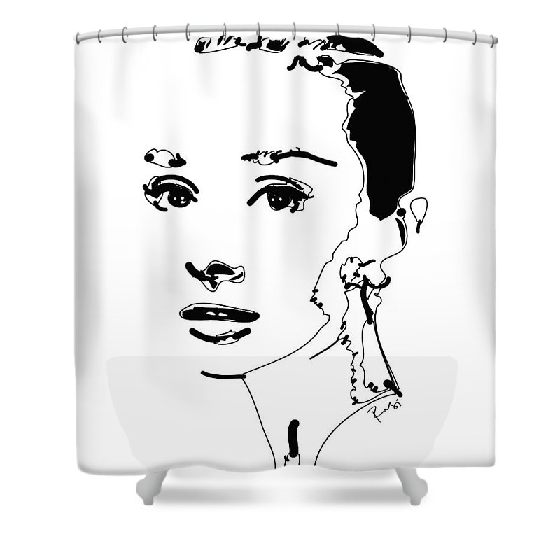 Actress Shower Curtain featuring the digital art Audrey Hepburn by Rabi Khan