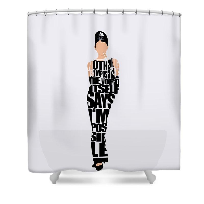 Audrey Hepburn Shower Curtain featuring the digital art Audrey Hepburn Typography Poster by Inspirowl Design