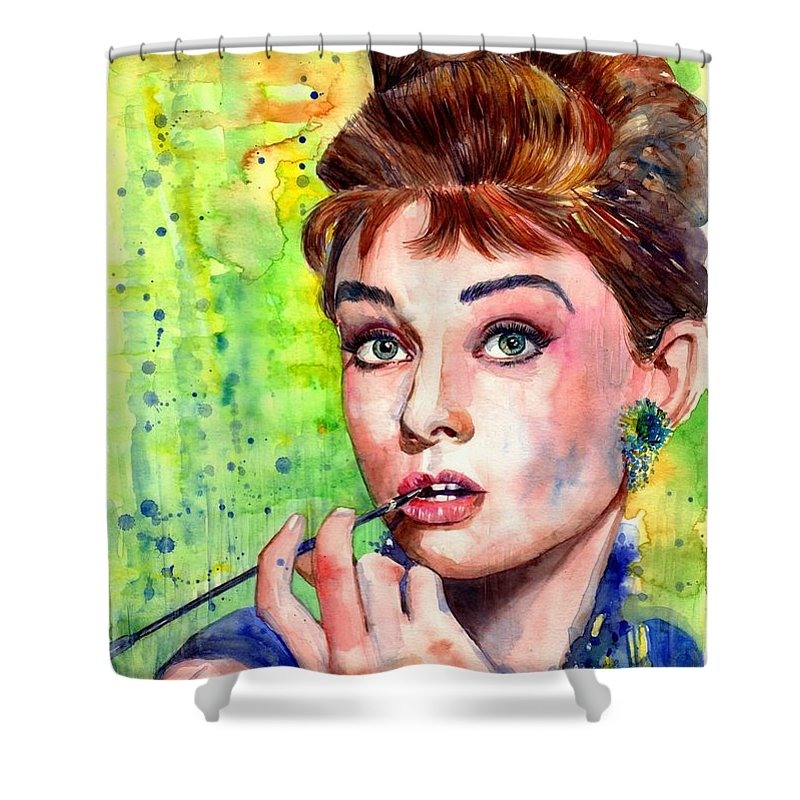 Audrey Hepburn Shower Curtain featuring the painting Audrey Hepburn Watercolor by Suzann Sines