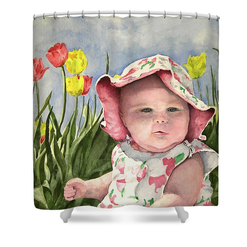 Kids Shower Curtain featuring the painting Audrey by Sam Sidders