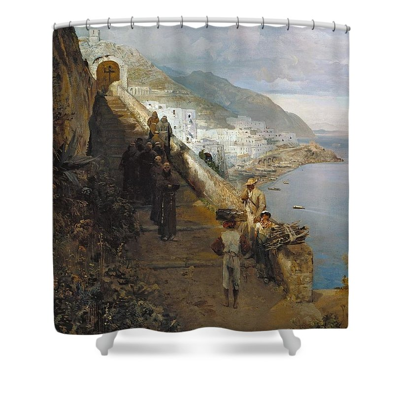 Oswald Achenbach Shower Curtain featuring the painting Aufgang Zum Kloster by MotionAge Designs