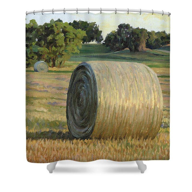 Landscape Shower Curtain featuring the painting August Bales by Bruce Morrison