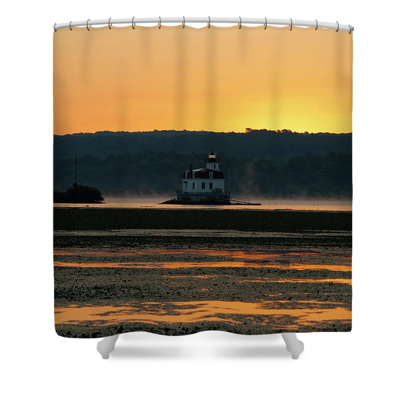 Lighthouse Shower Curtain featuring the photograph August Dawn At Esopus Light II by Jeff Severson