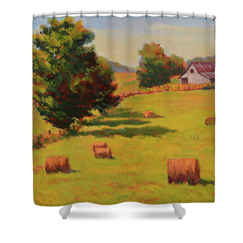 Impressionism Shower Curtain featuring the painting August Hay Field by Keith Burgess