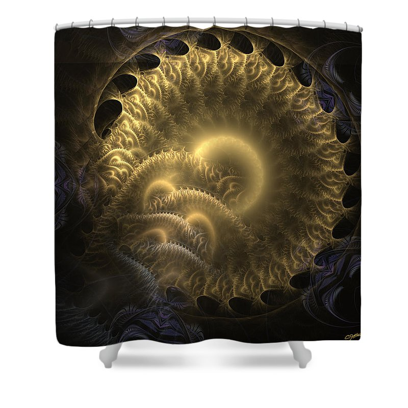 Abstract Shower Curtain featuring the digital art Aureate-2 by Casey Kotas