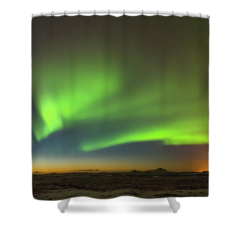 Iceland Shower Curtain featuring the photograph Aurora Above Keflavik In Iceland. by Andy Astbury