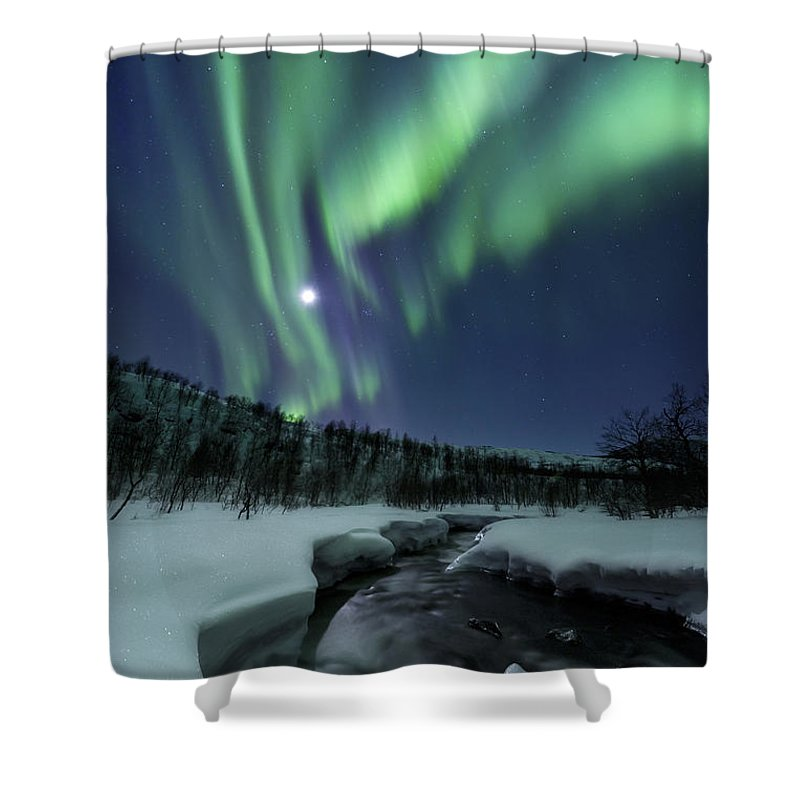 Aurora Borealis Shower Curtain featuring the photograph Aurora Borealis Over Blafjellelva River by Arild Heitmann