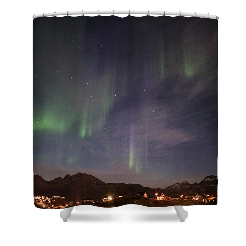Aurora Shower Curtain featuring the photograph Aurora Tasiilaq And Dipper Greenland 7890 by Bob Neiman