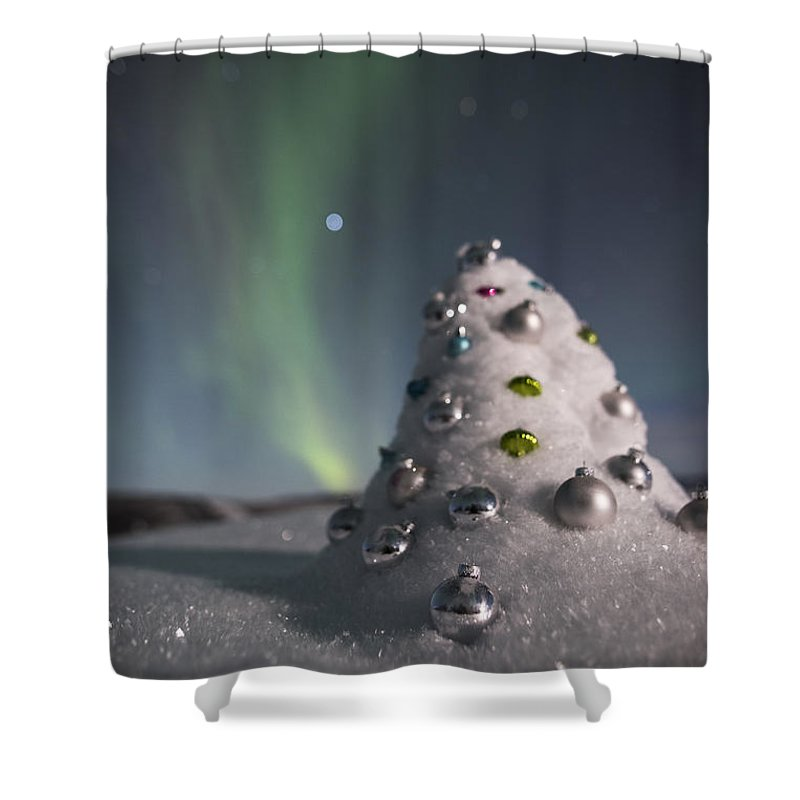 Shower Curtain featuring the photograph Auroral Christmas Tree by Ian Johnson