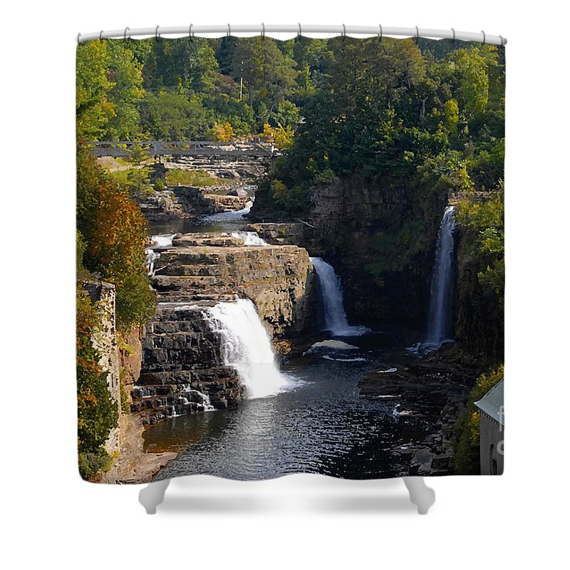 Ausable River Shower Curtain featuring the photograph Ausable Falls by David Lee Thompson