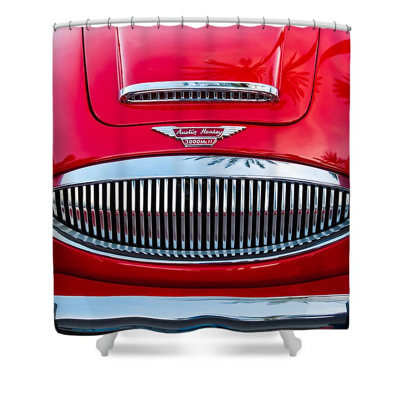 Austin Healey 3000mk Ii Grille Shower Curtain featuring the photograph Austin-healey 3000mk II by Jill Reger