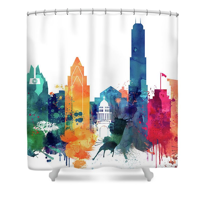 Austin Shower Curtain featuring the painting Austin Skyline by Dim Dom