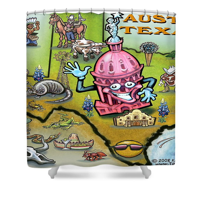 Austin Shower Curtain featuring the digital art Austin Texas Cartoon Map by Kevin Middleton