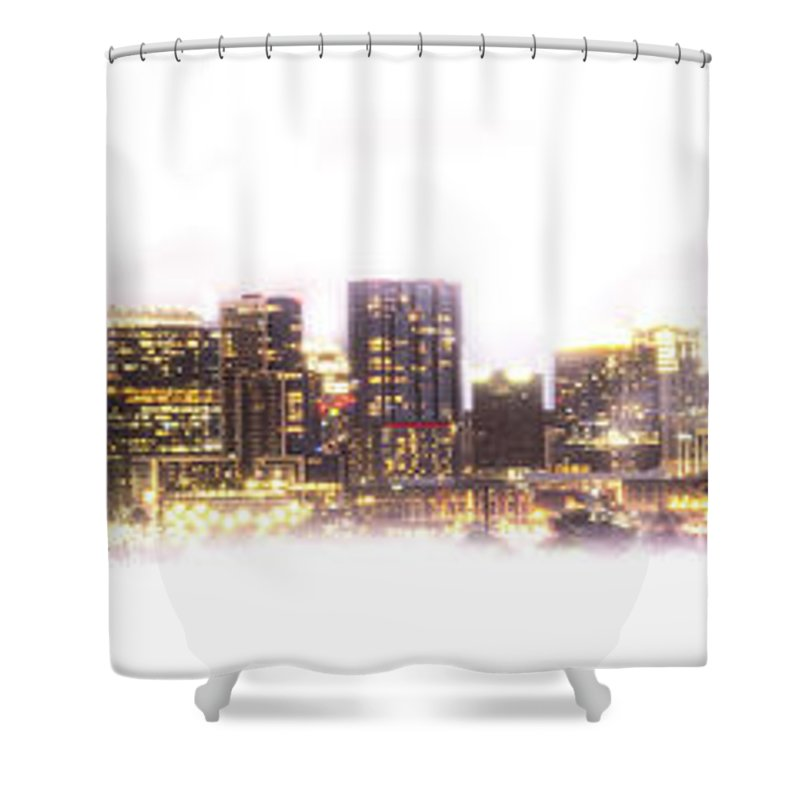 Aerial View Shower Curtain featuring the photograph Austin Texas Skyline With White Blackground by PorqueNo Studios