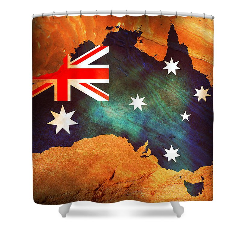 Australia Shower Curtain featuring the photograph Australian Flag On Rock by Phill Petrovic