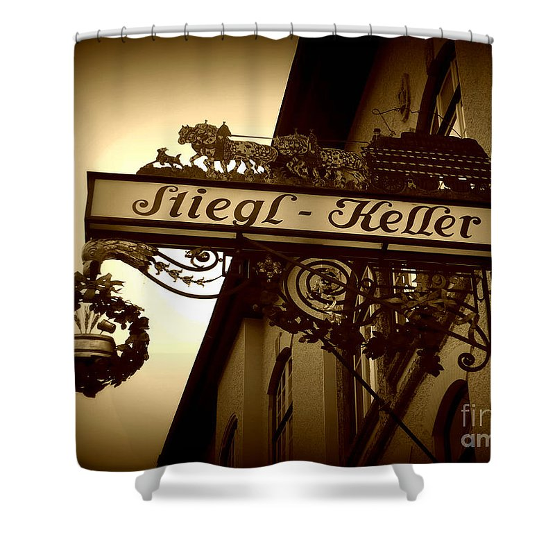 Sign Shower Curtain featuring the photograph Austrian Beer Cellar Sign by Carol Groenen