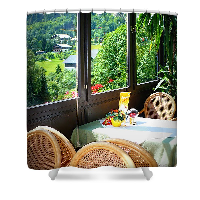 Austria Shower Curtain featuring the photograph Austrian Cafe by Carol Groenen