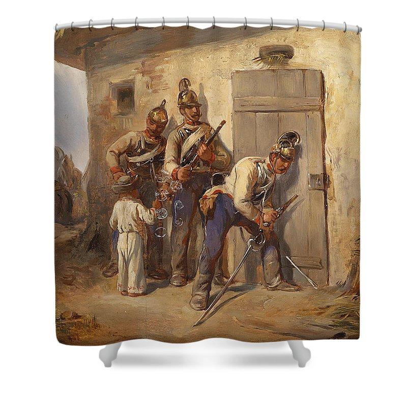 August Von Pettenkofen Shower Curtain featuring the painting Austrian Dragoons by August von Pettenkofen