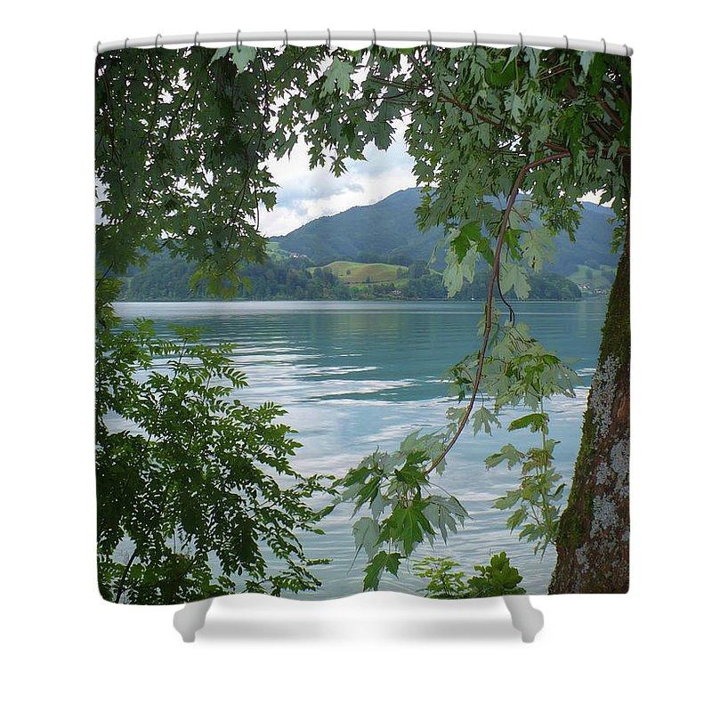 Austria Shower Curtain featuring the photograph Austrian Lake Through The Trees by Carol Groenen