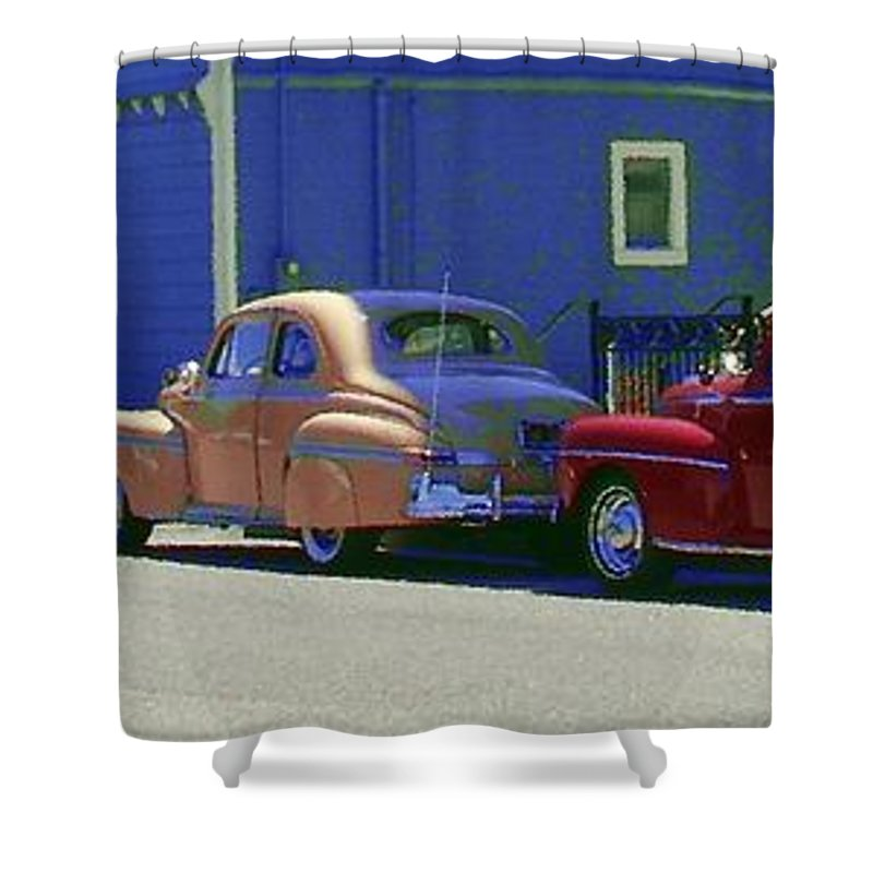 Car Shower Curtain featuring the photograph Auto Oldies by Rich Bodane