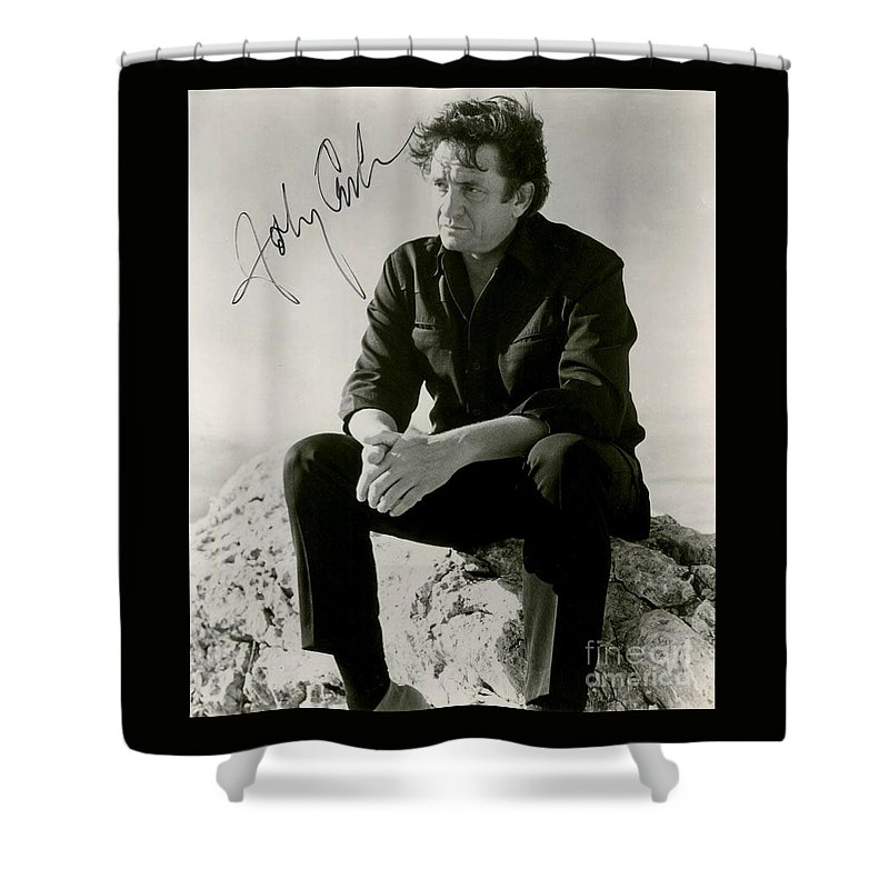 Johnny Cash Photographs Shower Curtain featuring the painting Autographed Cash by Pd