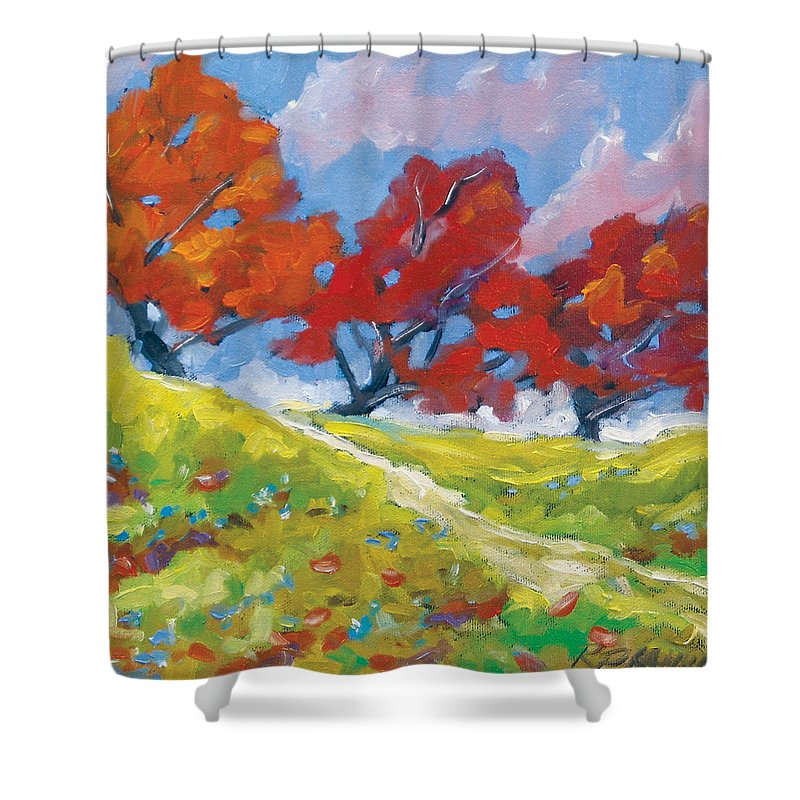 Art Shower Curtain featuring the painting Automn Trees by Richard T Pranke