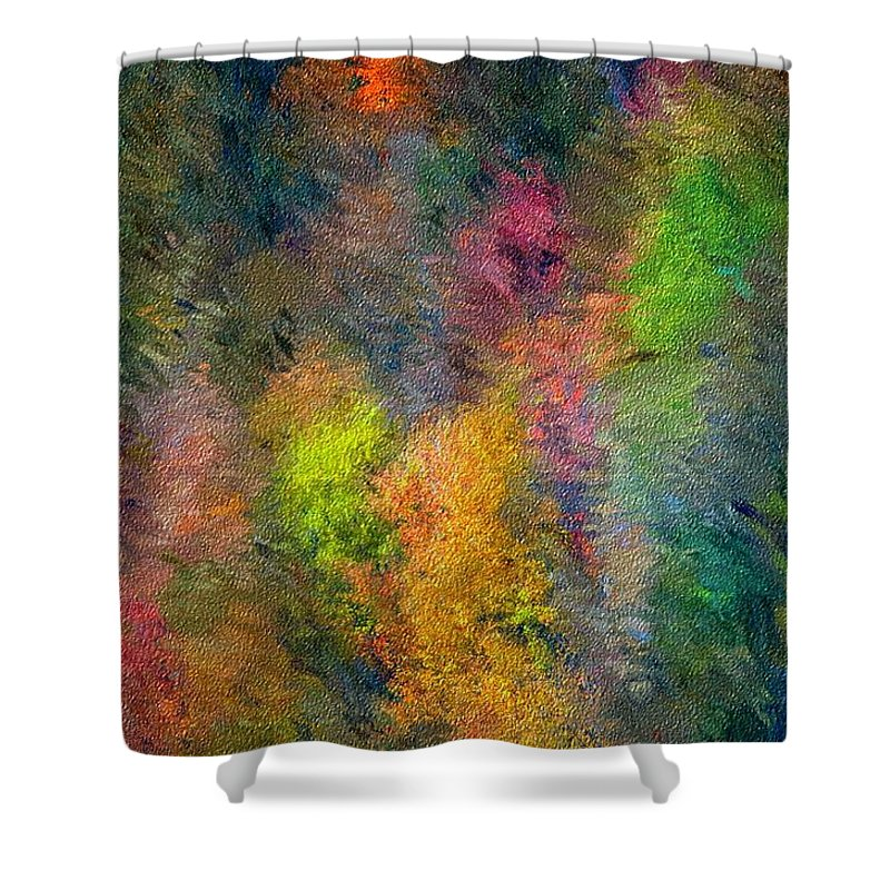 Landscape Shower Curtain featuring the digital art Autum Hillside by David Lane