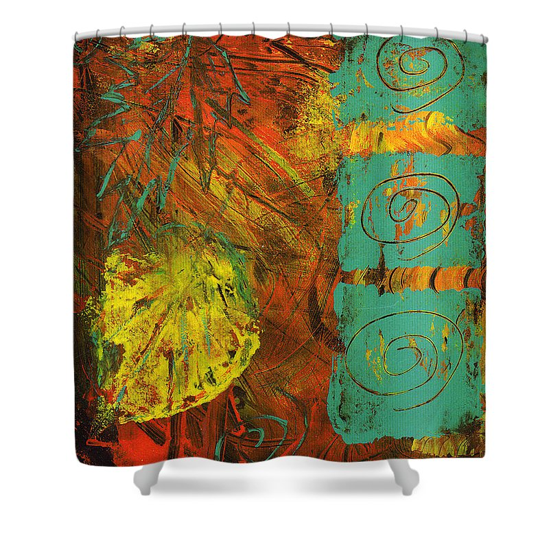 Autumn Shower Curtain featuring the painting Autumen Abstract by Wayne Potrafka