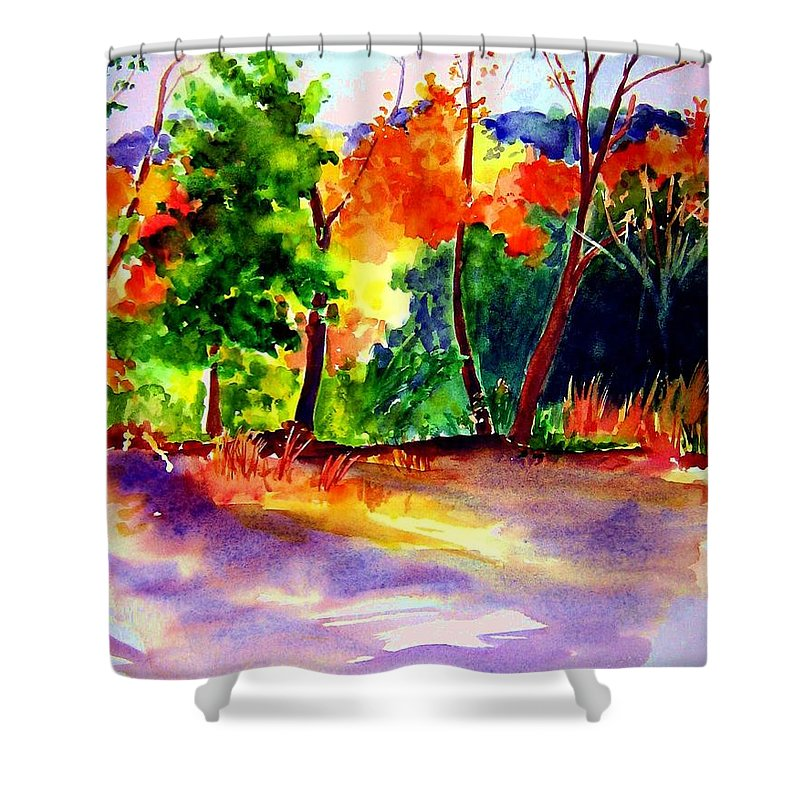 Autumn Shower Curtain featuring the painting Autumn Afternoon by Sandy Ryan