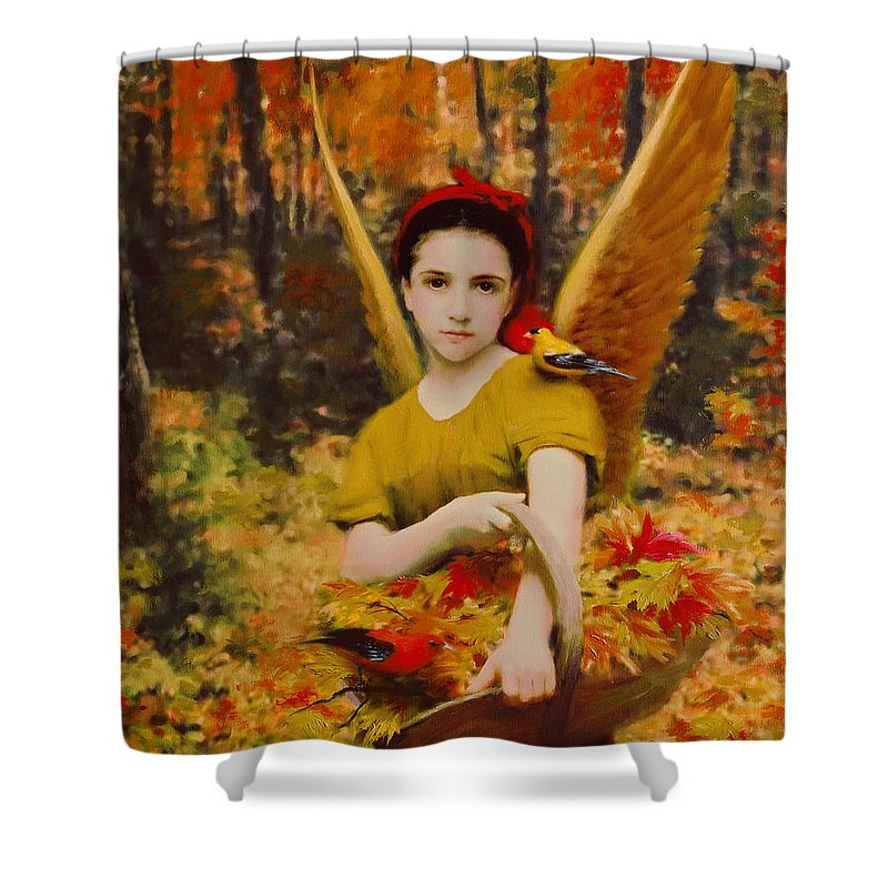 Angel Shower Curtain featuring the painting Autumn Angels by Stephen Lucas