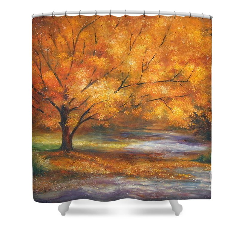Fall Shower Curtain featuring the painting Autumn by Ann Cockerill