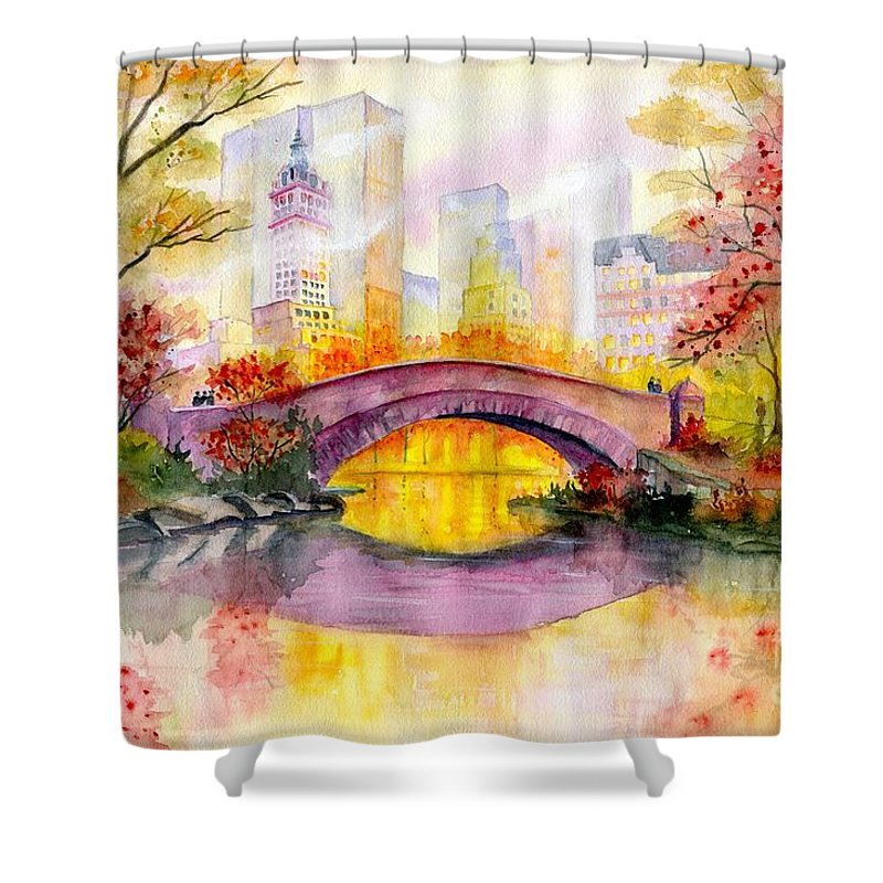 Autumn At Gapstow Bridge Central Park Shower Curtain featuring the painting Autumn at Gapstow Bridge Central Park by Melly Terpening