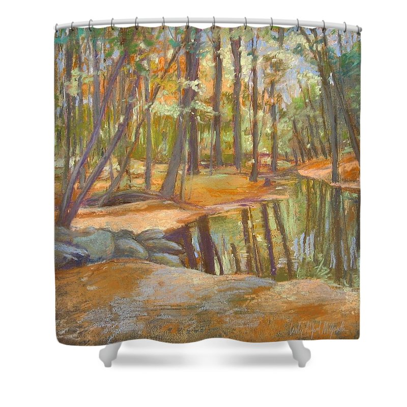 Mcgrath Shower Curtain featuring the painting autumn at Kenoza by Leslie Alfred McGrath