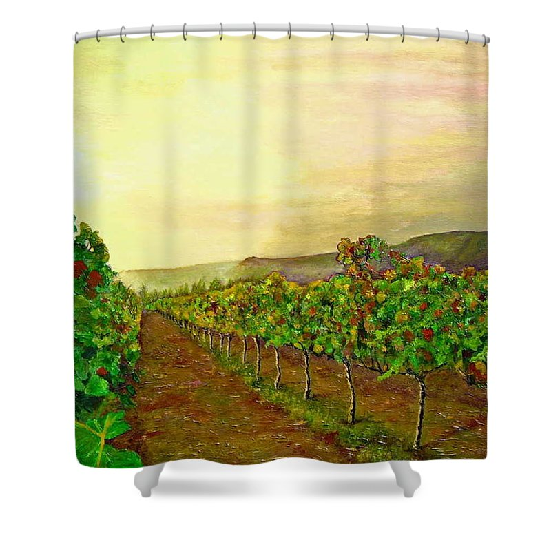 Vineyard Shower Curtain featuring the painting Autumn At Steenberg by Michael Durst