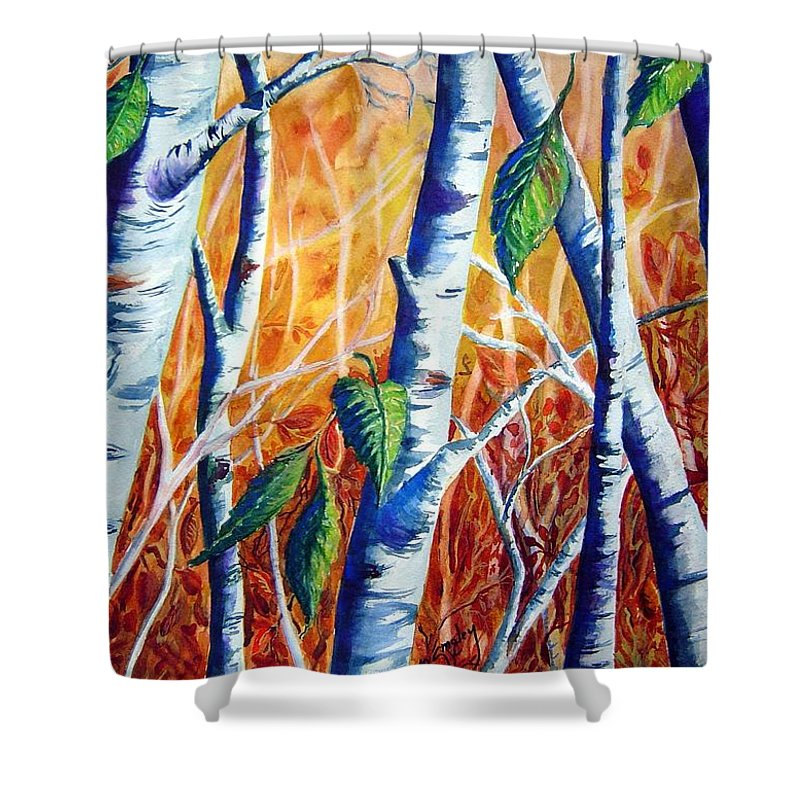 Autumn Birch Trees Shower Curtain featuring the painting Autumn Birch by Joanne Smoley