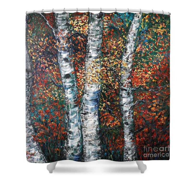 Birch Shower Curtain featuring the painting Autumn Birch by Nadine Rippelmeyer