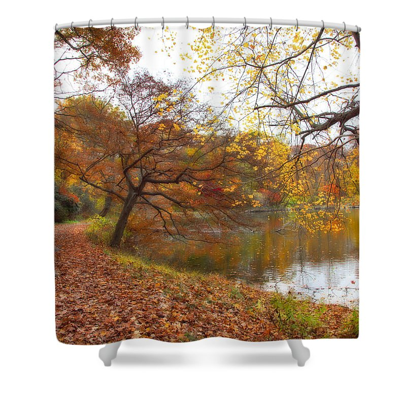 Autumn Shower Curtain featuring the photograph Autumn By The Lake by June Marie Sobrito