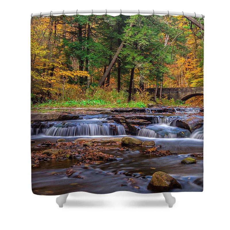 Office Decor Shower Curtain featuring the photograph Autumn Cascades by Mark Papke
