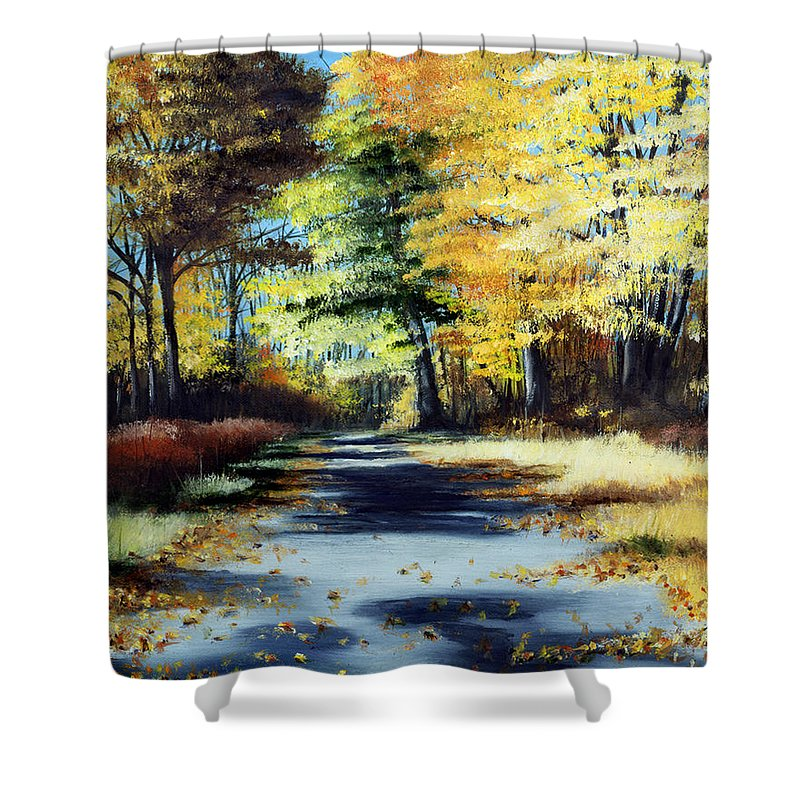 Landscape Shower Curtain featuring the painting Autumn Colors by Paul Walsh