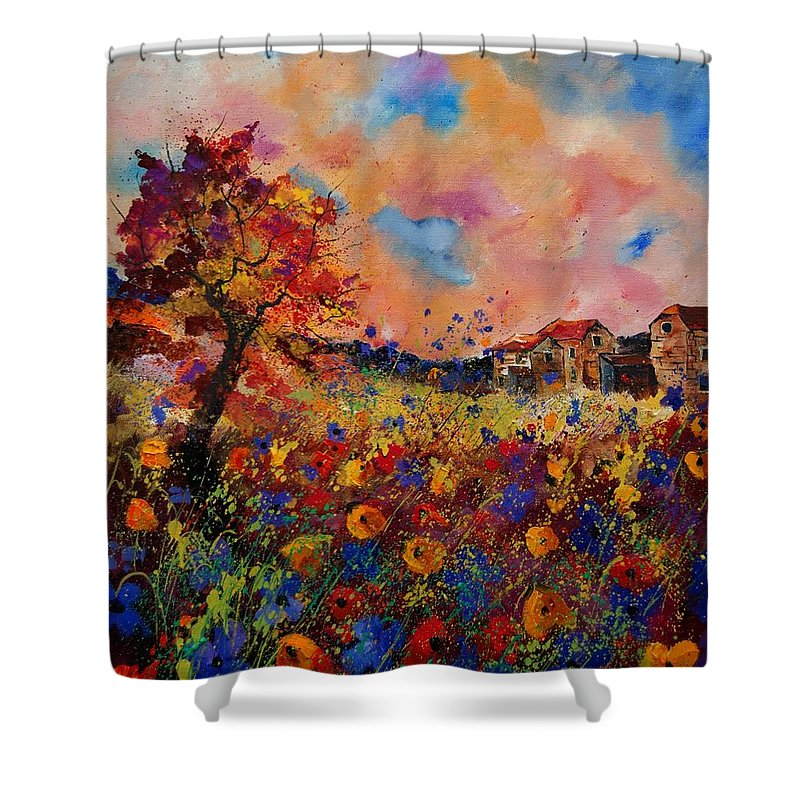 Poppies Shower Curtain featuring the painting Autumn Colors by Pol Ledent