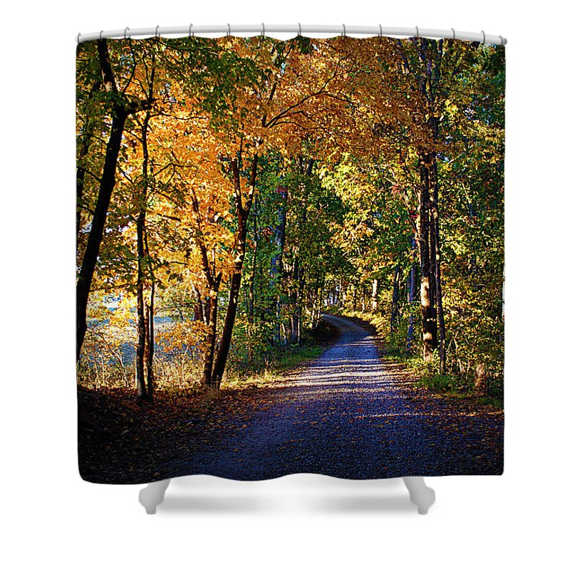 Autumn Shower Curtain featuring the photograph Autumn Country Lane by Cricket Hackmann