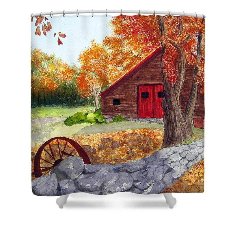 Barn Shower Curtain featuring the painting Autumn Day by Julia RIETZ